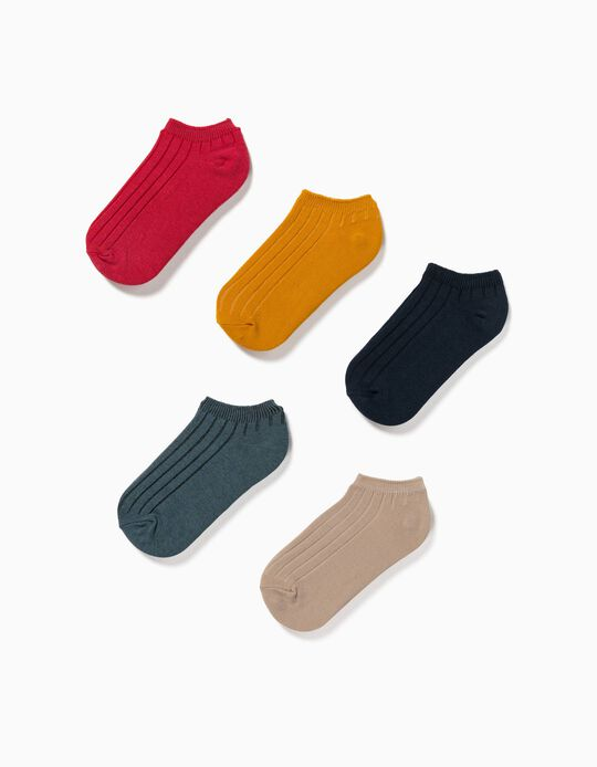 5 Pairs of Rib Knit Ankle Socks for Children, Multicoloured