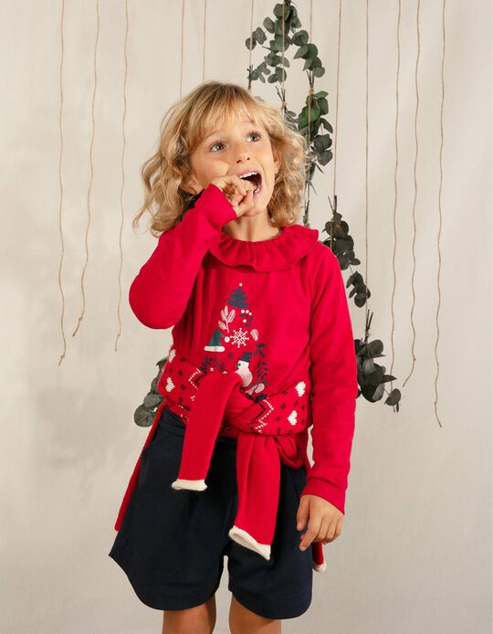 Long Sleeve Top for Girls, 'Happier Time', Red