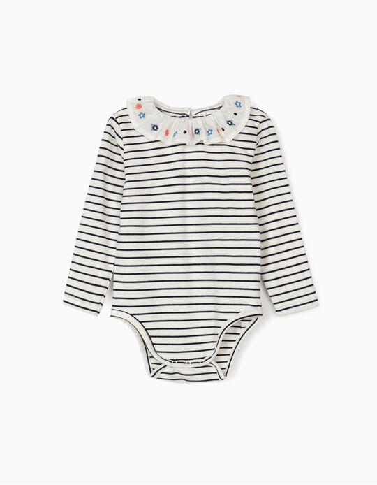 Striped Bodysuit for Baby Girls, Blue/White
