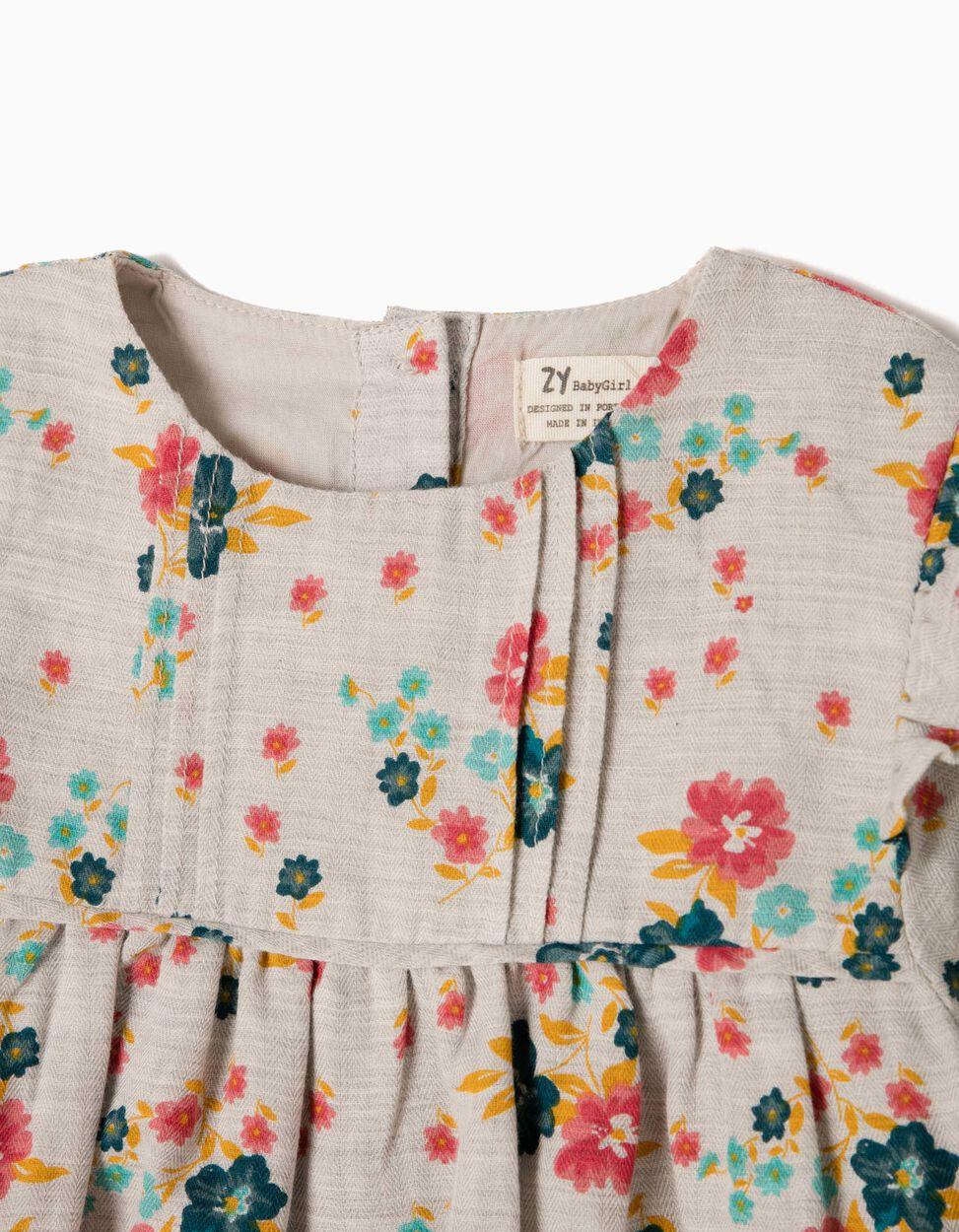 Blusa Fluida com Flores e Folhos