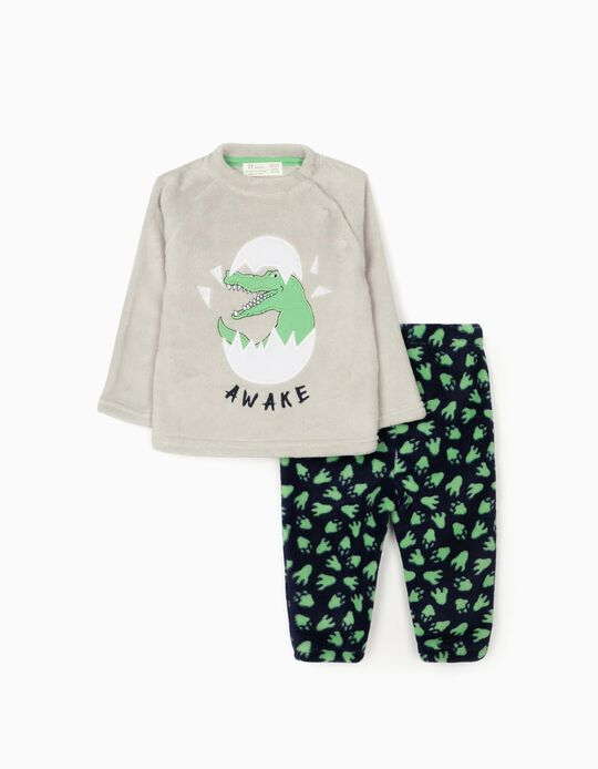 Minky Fabric Pyjamas for Baby Boys 'Dino Awake', Grey/Blue