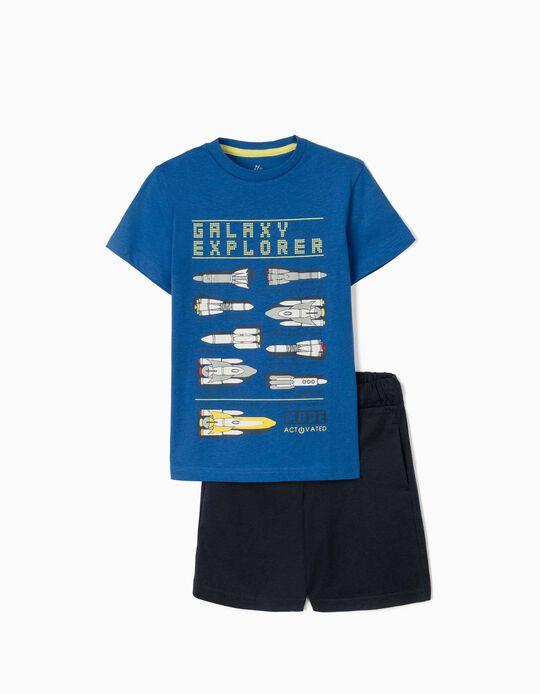 T-shirt e Calções para Menino 'Galaxy Explorer', Azul