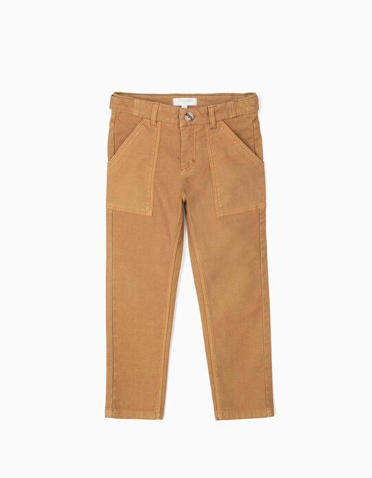 Calças com Textura para Menino 'B&S', Camel