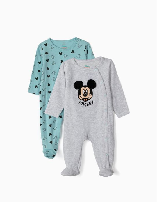 2 Sleepsuits for Baby Boys, 'Mickey Mouse', Grey/Blue