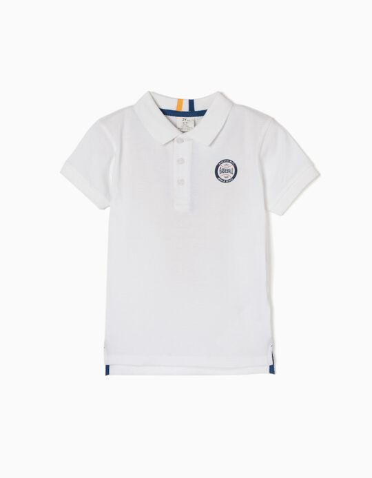 White Short-Sleeved Polo Shirt, Baseball