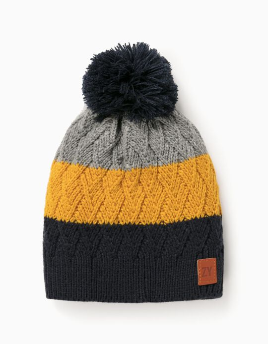 Knitted Beanie for Boys, Blue/Yellow, Grey