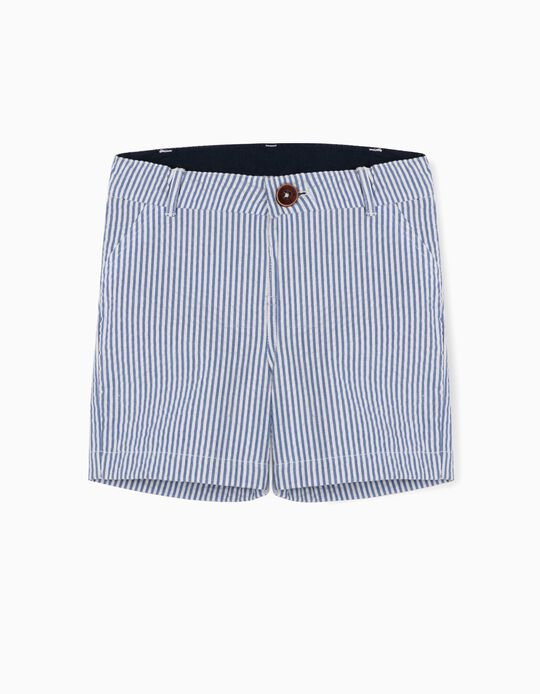 Striped Shorts for Baby Girls, 'B&S', Blue/White