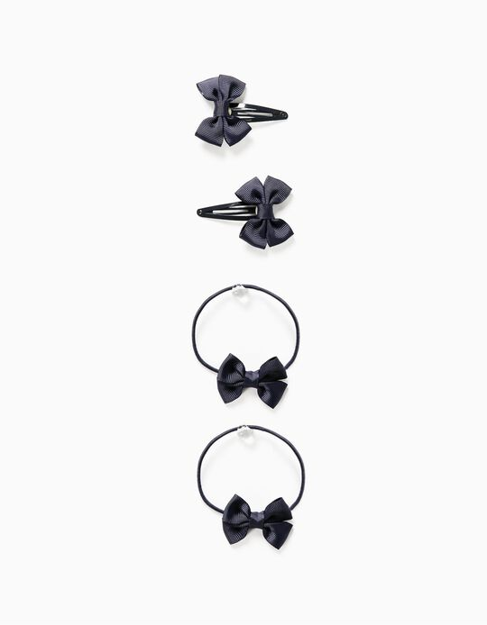2 Hair Clips + 2 Bobbles for Girls, 'Bows', Dark Blue