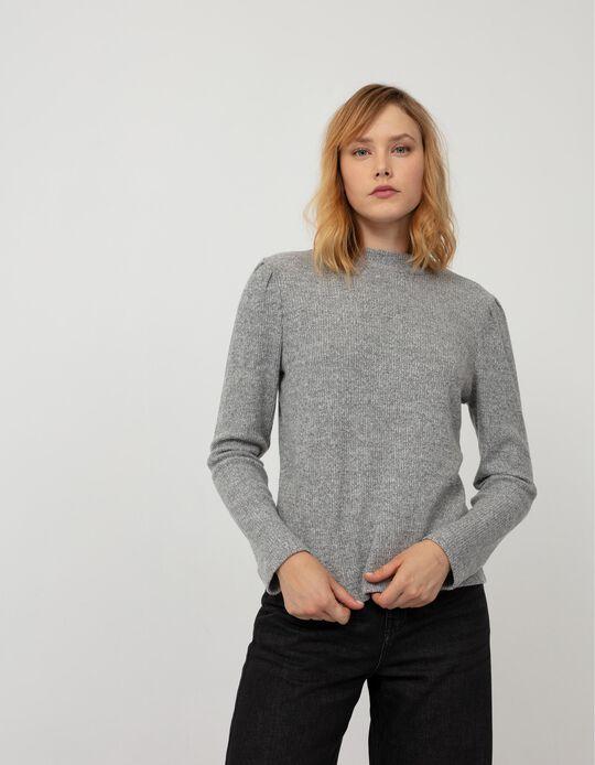 Rib Knit Top, Women, Grey