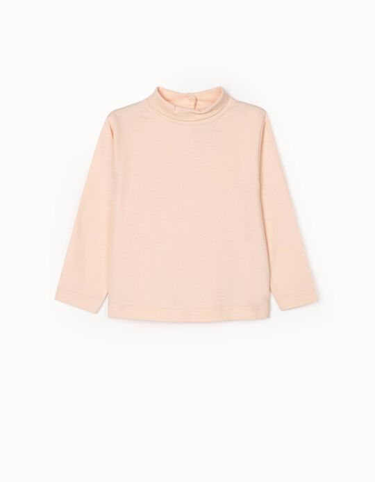 Long Sleeve T-Shirt with Turtleneck for Baby Girls, Pink
