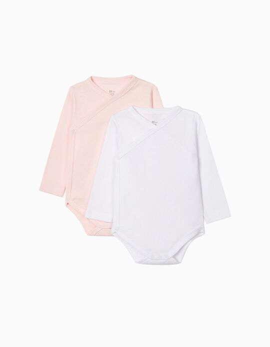 2-Pack Long-Sleeved Bodysuits, Pink & White