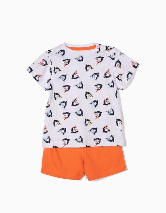 Pijama para Bebé Menino 'Sharks', Branco e Laranja