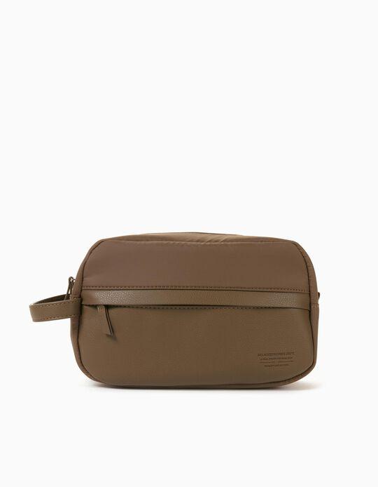 Nylon Toiletry Bag for Men, Beige
