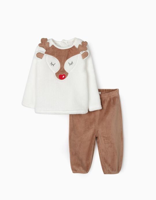 Pyjamas for Baby Girls 'Christmas Reindeer', White/Brown