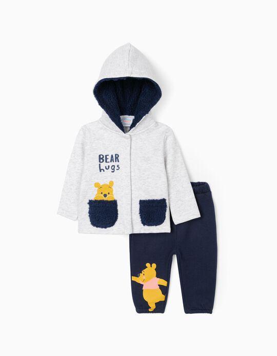 Tracksuit for Newborn Baby Boys 'Winnie The Pooh', Grey/Dark Blue
