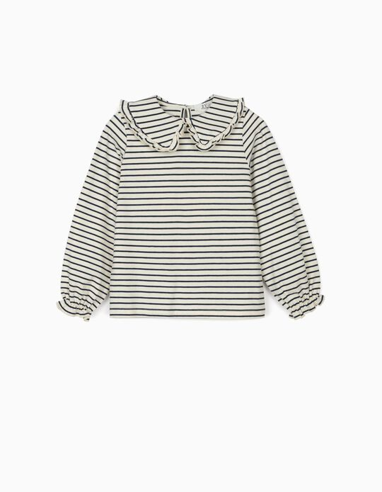 Long Sleeve Striped Top for Girls, Blue/White