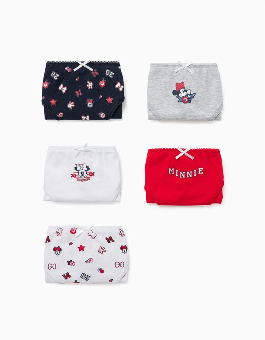 5 Pairs of Briefs for Girls, 'Minnie', Multicoloured