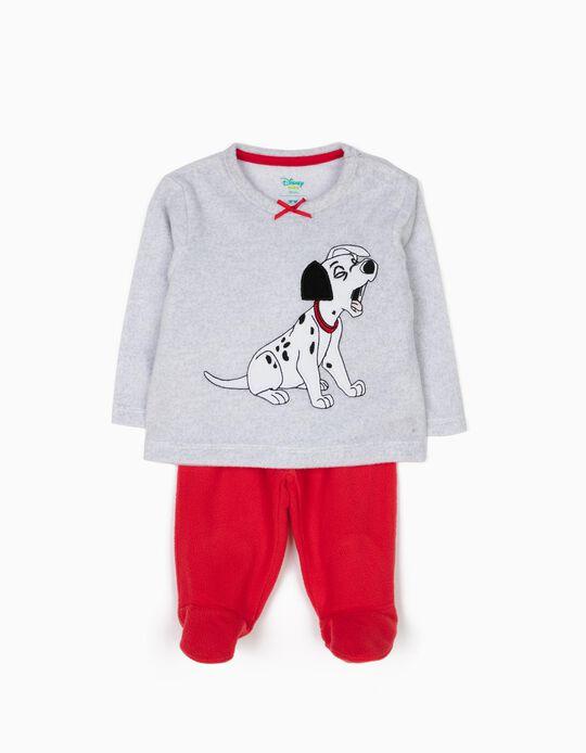 Pijama Polar com Pés 101 Dálmatas Cinza e Vermelho