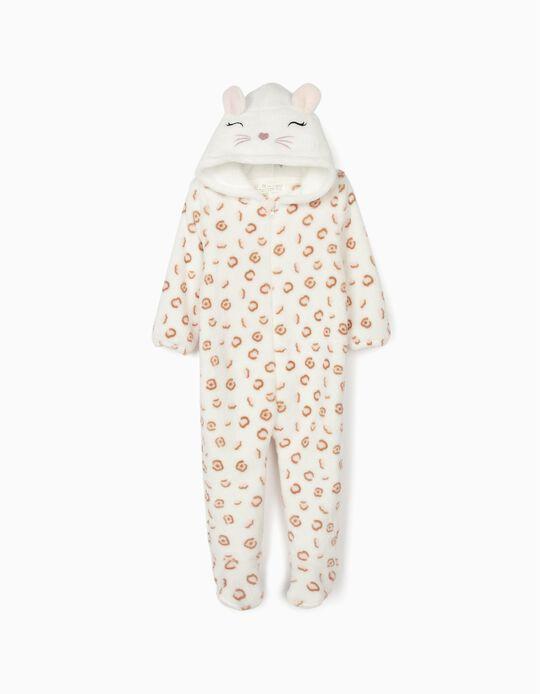Pijama-Macacão para Bebé Menina 'Cute Leopard', Branco