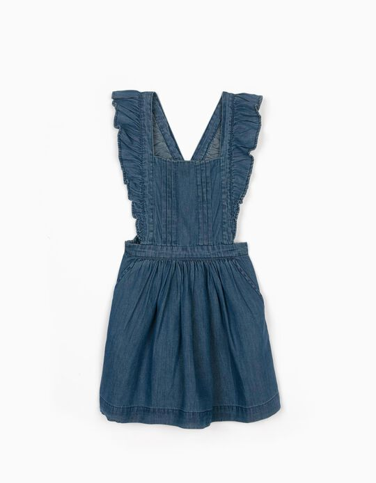Denim Pinafore Dress for Girls, Blue