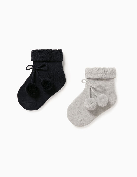 2 Pairs os Socks for Baby Boys, Grey/Dark Blue