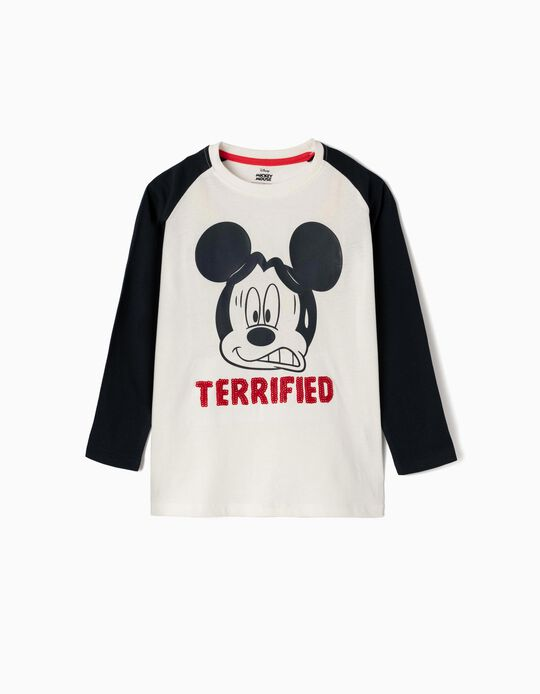 Long-sleeve Top for Boys 'Terrified Mickey', White/Blue