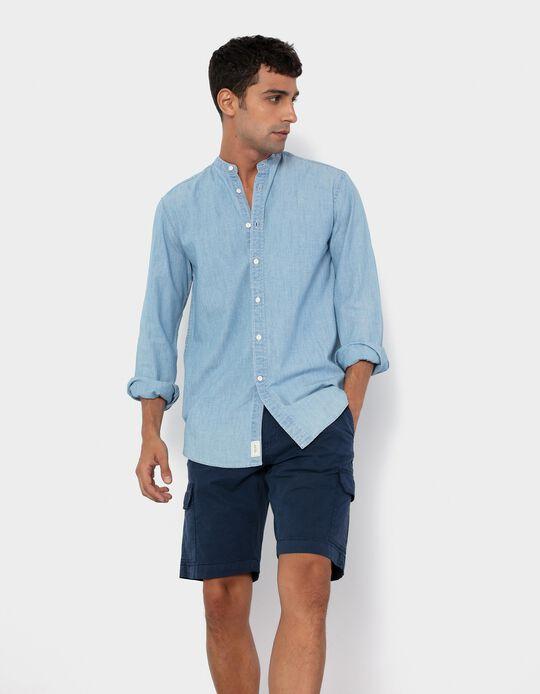Mandarin Collar Shirt for Men, Blue