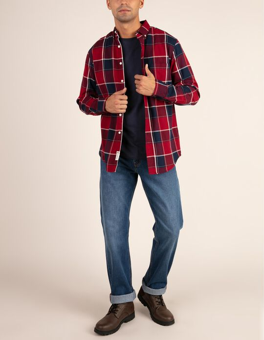 Camisa regular fit em tartan
