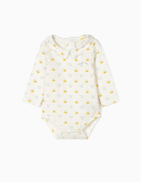 Bodysuit for Newborn Baby Boys, 'Sheep', White