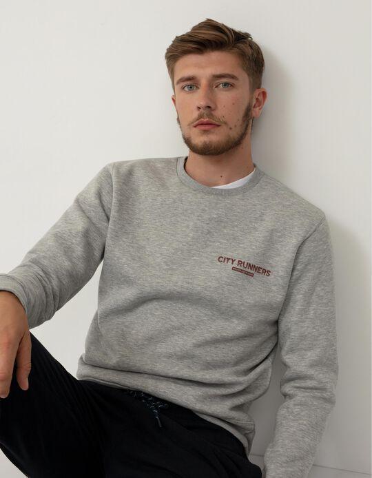 Sweatshirt Minimalista, Homem, Cinza