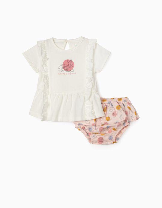 T-shirt e Calções para Recém-Nascida 'Bambi', Branco/Rosa