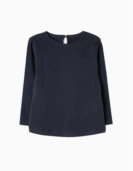 Long-Sleeved Basic Top, Blue