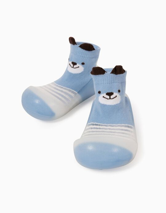 Non-slip Slippers Socks for Babies 'Cute Bear', Blue/White