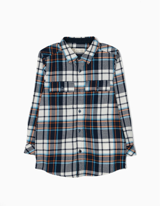 White & Blue Checked Shirt with Pockets