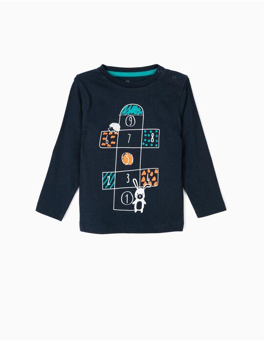 T-shirt Manga Comprida para Bebé Menino 'Playground',  Azul Escuro