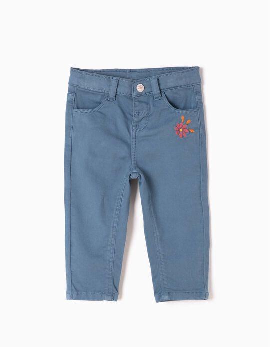 Calças de Sarja Flor Azuis