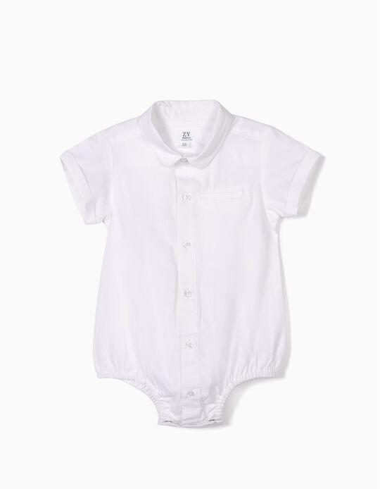 Body-Camisa para Recém-Nascido, Branco