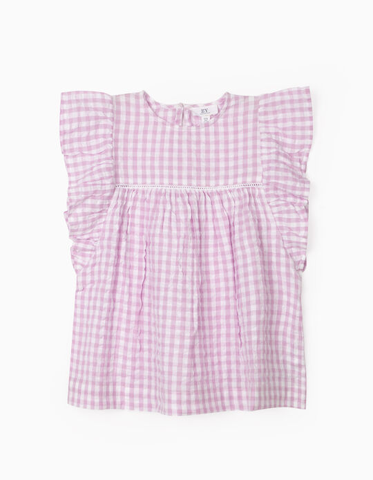 Plaid Blouse for Girls, 'Gingham', Lilac/White