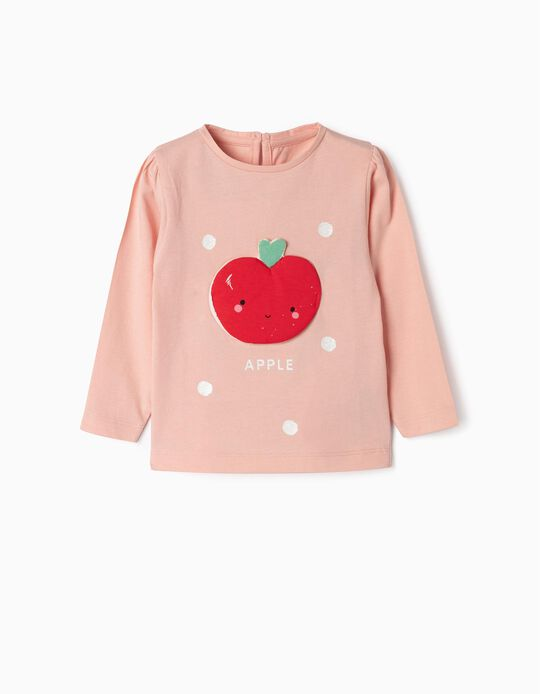 Long Sleeve 'Apple' Top for Baby Girls, Pink