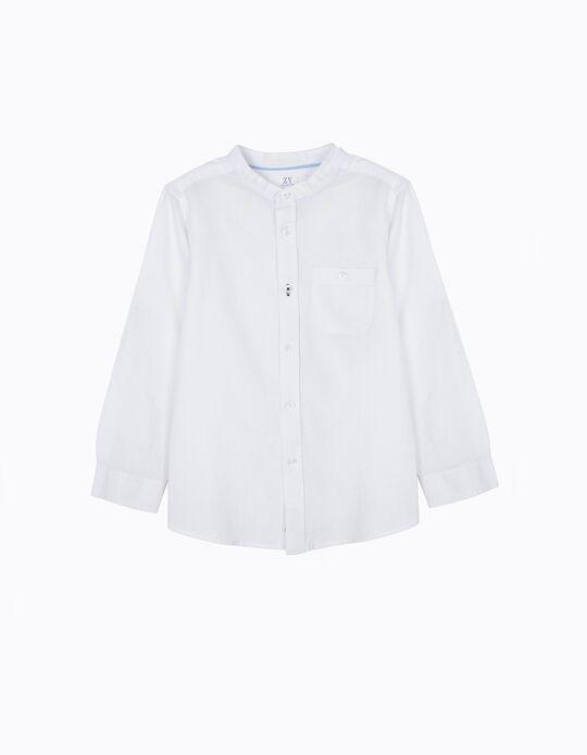 Camisa para Menino com Gola Mao, Branco