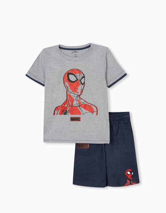 Spiderman T-shirt & Shorts, Boys, Grey/ Dark Blue