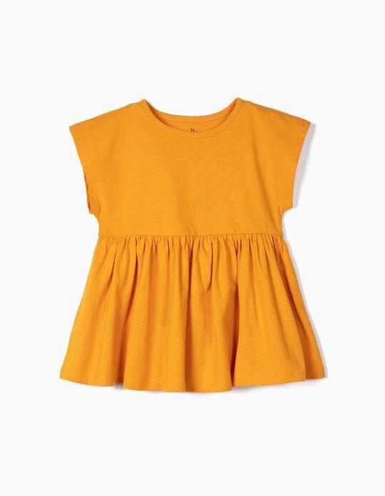 T-shirt com Folhos para Menina em Algodão Orgânico, Amarelo