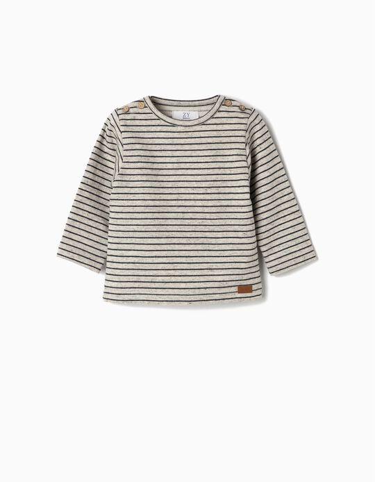 Sweatshirt para Recém-Nascido ' Riscas' com Cotoveleiras, Cinza