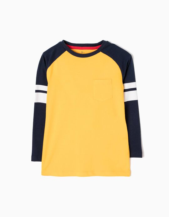 Long-Sleeved T-Shirt, Yellow with Stripes