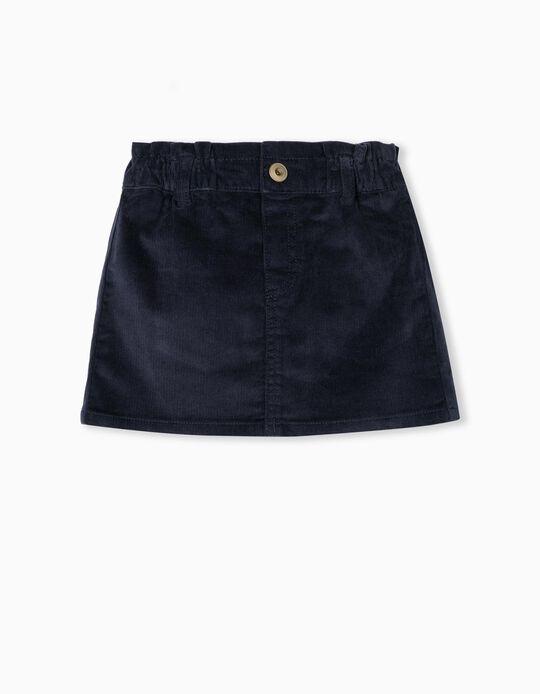 Velour Skirt, Baby Girls, Dark Blue