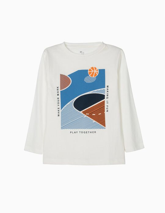 T-shirt Manga Comprida para Menino 'Basketball', Branco