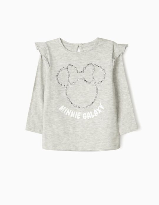 Long Sleeve Top for Baby Girls, 'Minnie Galaxy', Grey