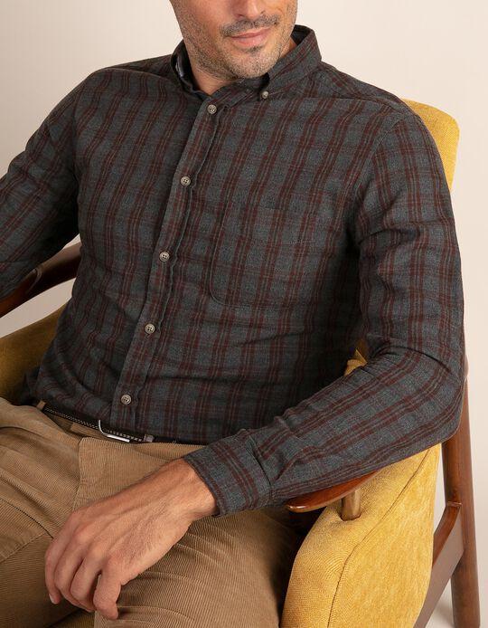 Camisa casual slim fit em tartan acinzentado