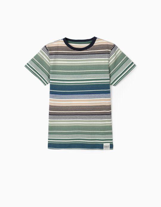 Striped T-shirt for Boys, Green/Blue/Beige