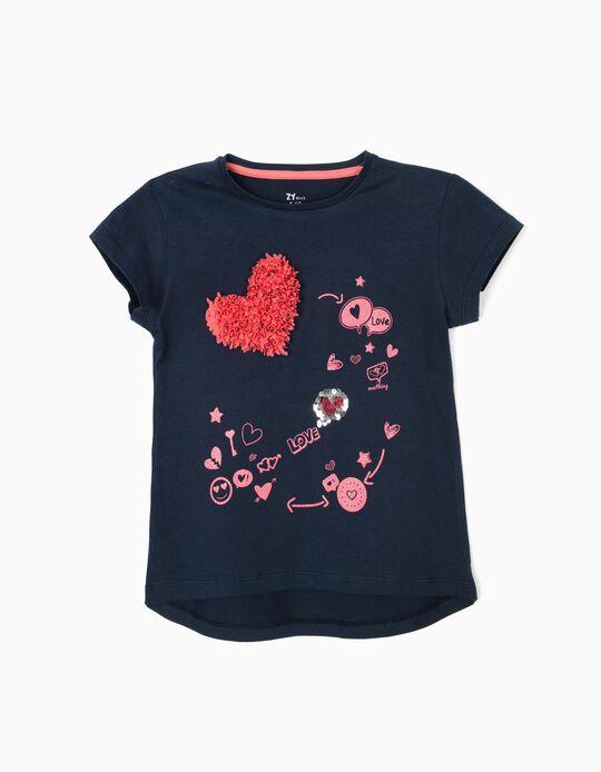 T-shirt para Menina 'Love', Azul Escuro